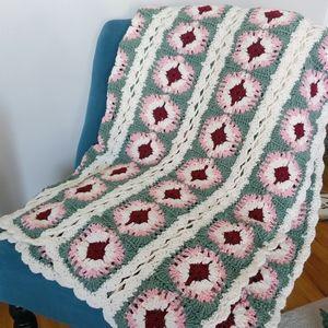 Vintage Granny Square Handmade Crochet Afghan
